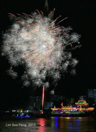 Fireworks over Floating Kuanyin Temple