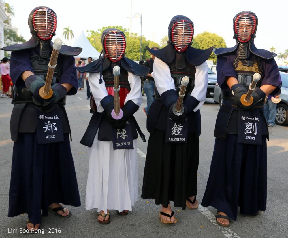 The four Kendo warriors on parade.