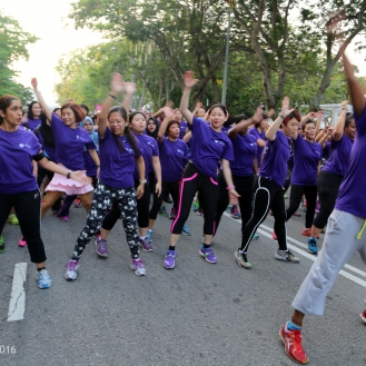 Women in the exercise mode.