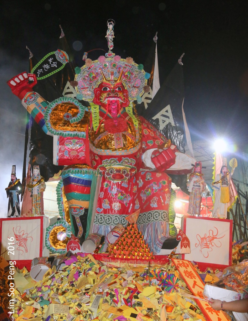 """Burning of the Tai Soo Yah Image tonight - Wednesday, 17 August, 2016. """" Tai Soo Yah Image is carried and placed on top of a big pile of Joss Paper """""""