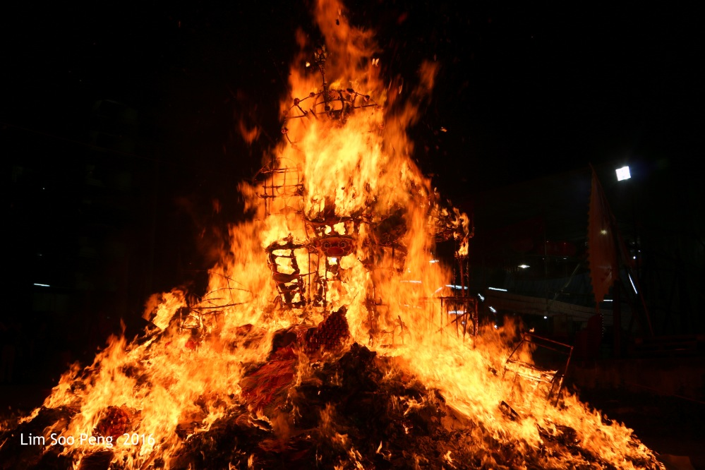 """Burning of the Tai Soo Yah Image tonight - Wednesday, 17 August, 2016. """" About 20 minutes later, the Tai Soo Yah Paper effigy is completely burnt. """""""