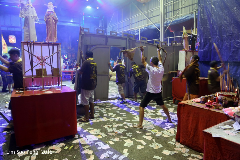 Celebrations of the Tai Soo Yah of the Festival of Hungry Ghost at Lim Jetty, Weld Quay, Penang on the final night of Monday 22 August, 2016.
