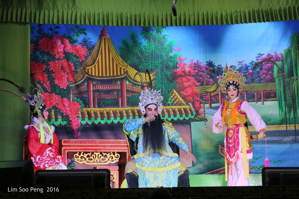 "The Teochew Chinese Opera or Wayang taken at Ayer Itam, Penang. - "" The Family of Father, Mother and Daughter """
