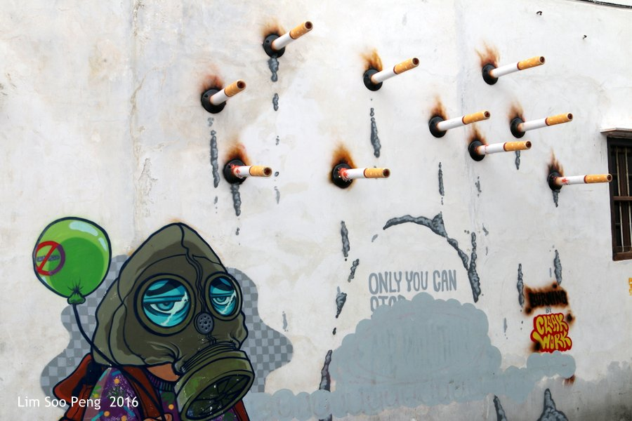 """New Wall Mural on Smoking with my slogan of """"Smoking cures Cancer""""."""