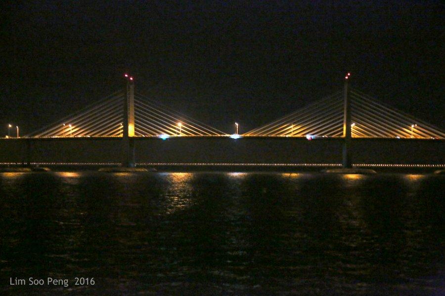 Penang Bridge and Penang Second Bridge at night of Thursday, October 20, 2016