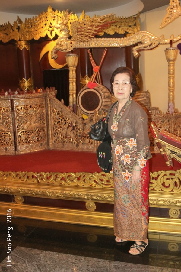 Our Family Adventure in Myanmar or Burma ~ Day 2.3 - My mother with the classical Burmese decorations of the past.