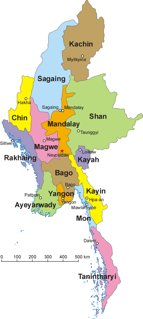 Map of Myanmar or Burma showing the States.