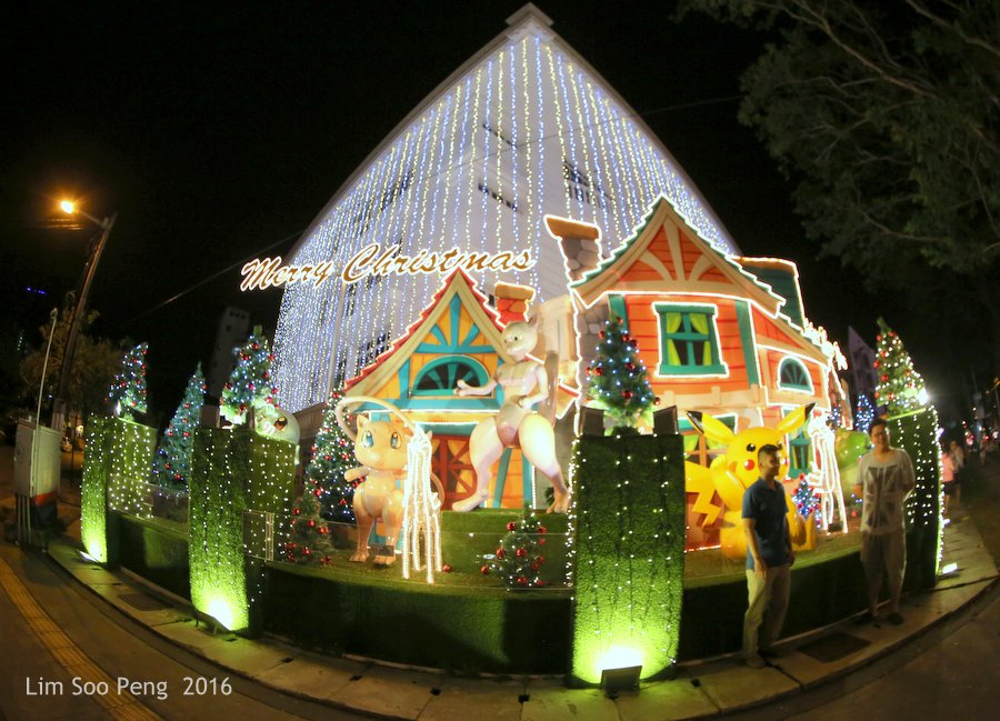 Boxing Day's Night Photography - The well decorated facade of a private apartment in Penang for Christmas and New Year.