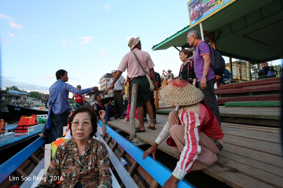 Day 3.10 ~ Leaving for Inle Lake after the Visit to the Green Hill Valley Elephant Camp and arriving the Water Transportation Hub. My mother is safely on board,