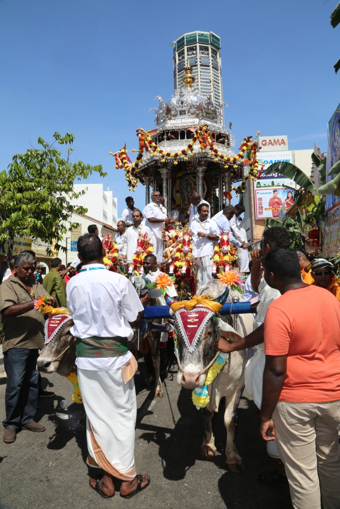 Penang Thaipusam 2017 with two Chariots of Gold and Silver. This is the traditional Silver Chariot of many years.